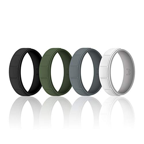 WIGERLON Mens Silicone Wedding Ring &Rubber Wedding Bands Width 8.7mm Pack of 4 Size 13 -