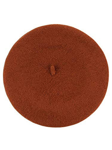 NYFASHION101 French Style Lightweight Casual Classic Solid Color Wool Beret, Rust ()