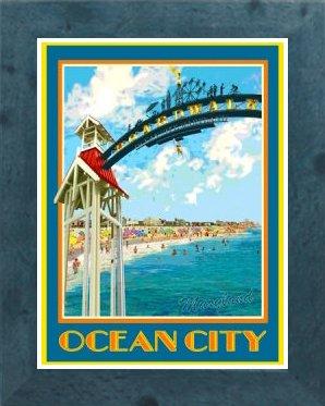 Amazon com : Ocean City Archway- Framed, Art-Deco Style