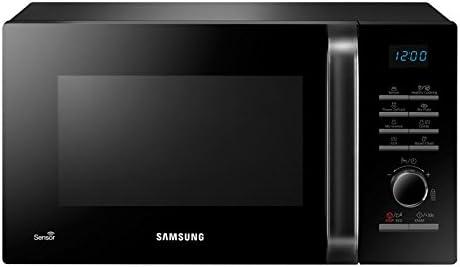 Samsung MG23H3125NK Microondas con Grill, 23 Litros de Capacidad, Interior Cerámico Enamel, Potencia 800W/1200W, con Sensor de Humedad y Limpieza Vapor Steam Clean, con Plato para Freír, Color Negro