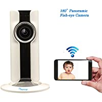 Amorvue 720P Mini Wifi Camera,180-degree panoramic view fisheye lens 1.44mm Day&Night Vision Two Way Audio Wifi Baby Camera