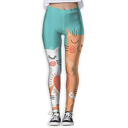Running Workout Leggings with Designs - Cute Kitten Couple Sweet Happy Paws Loving Heart Prints for Dkhh Storefront by GIAHSO