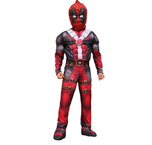 Halloween Costume Superhero Marvel Cosplay Fancy Dress Halloween Party for Kids Boys- Deadpool (M) Red]()