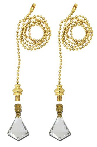 Royal Designs Fan Pull Chain with Extra Large Gem Cut Diamond Crystal Finial - Polished Brass - Set of 2