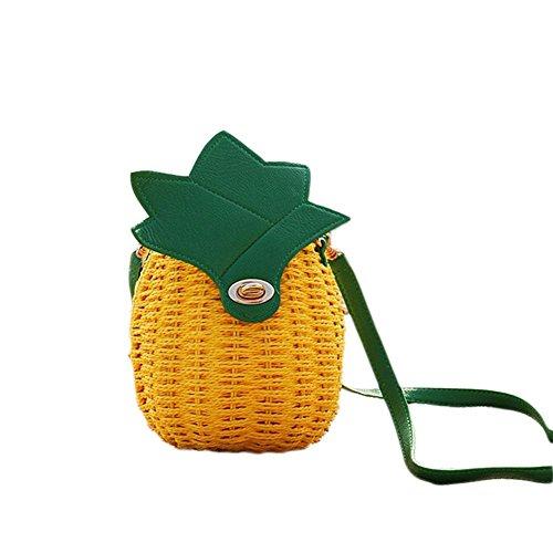 Fancylande Sac de Rond Sac en Rotin Sac à L'épaule Sac à Main Été Rafraîchissant Sac D'ananas épaule Convient pour Seaside Vacances