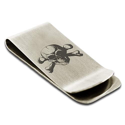 (Stainless Steel Iconic Pirate Crossbones Skull Money Clip Credit Card Holder)