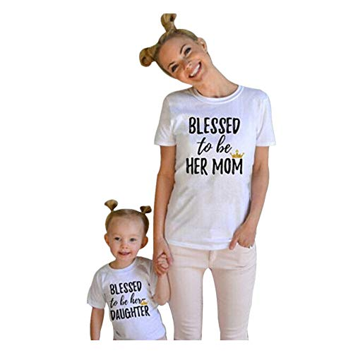 ANBOO Mommy and Me Kids Matching T Shirt Short Sleeve Blessed to Be Her Mom/Daughter Print Family Outfits (4T