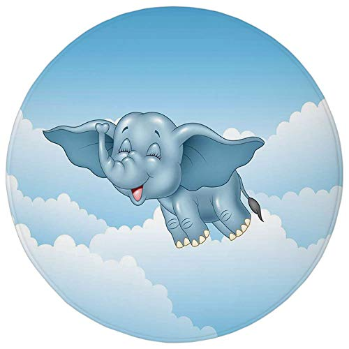 WEWELA Round Rug Mat Carpet,Animal,Cute Baby Flying Elephant Clouds Comic Humor Happiness Kids Caricature Illustration,Light Blue,Flannel Microfiber Non-Slip Soft Absorbent,for Kitchen Floor Bathroom]()