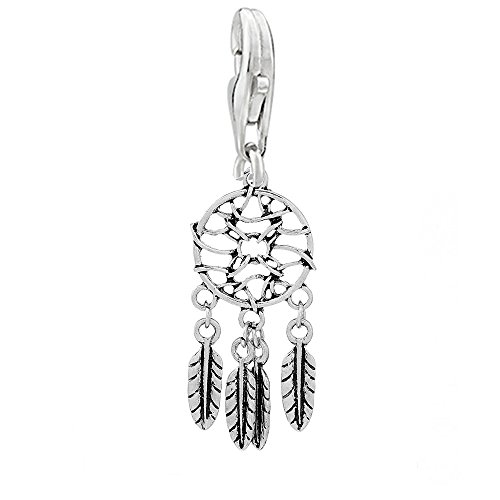 SEXY SPARKLES Feather Dream Catcher Clip on Pendant Charm for Bracelet or Necklace