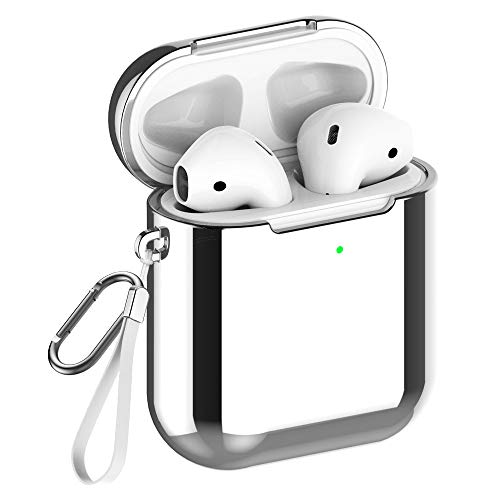 REFLYING Case Compatible for AirPods [1st and 2nd Gen], Soft TPU Plated Case Shockproof Protective Cover Compatible with Apple AirPods & AirPods 2019 [Front LED Visible] - Silver
