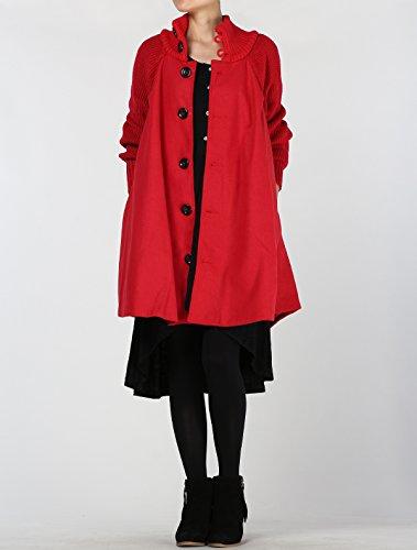 Mordenmiss Women's Knit Wool Coat Turtleneck Button Down Overcoat XL Red