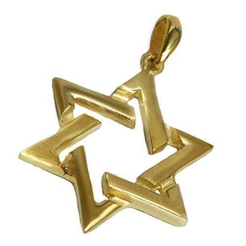 Diamond Cut Out Heart Necklace - Flat Cut Out Star of David Pendant in 14K Gold