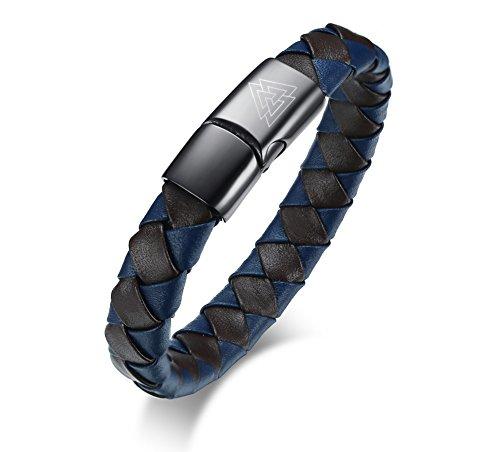 "VNOX Triple Triangle Viking Symbol Braided Leather Magnetic Clasp Cuff Wristband Bracelet,8.3"""