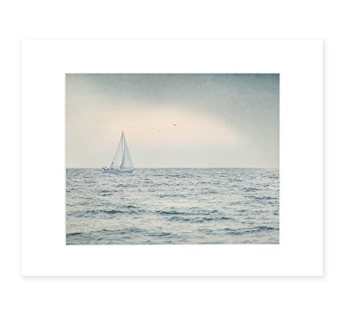 Grey Coastal Wall Art, Nautical Sail boat Picture, Ocean Seascape Beach Cottage Decor, 8x10 Matted Photographic Print (fits 11x14 frame), 'Sailing Into Rain' by Offley Green