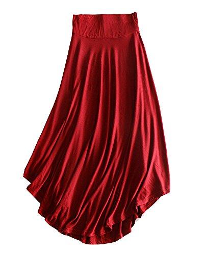 Runyue Style Balan Plisse vase Haute oire en Casual Vin Taille Rouge Jupe Midi OL Femme Basique lgante Jupe gvqSxBng