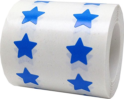Blue Star Stickers, 1/2 Inch Wide, 1000 Labels on a Roll