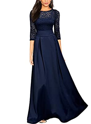 Miusol Women's Retro Floral Lace Halter Ruched Wedding Maxi Dress