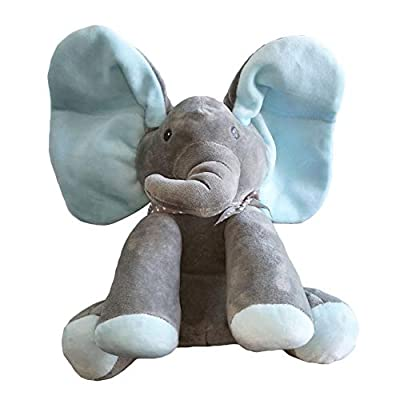Peek-a-Boo Elephant Animated Talking Singing Stuffed Plush Doll,Elephant Baby Cute Stuffed Doll Toys for Tollder Kids Boys Girls Gift Present