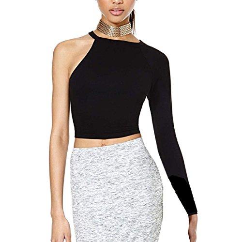 Zeagoo Sexy Women S One Sleeve Tops Off Shoulder Blouse Shirt Black Us L 12