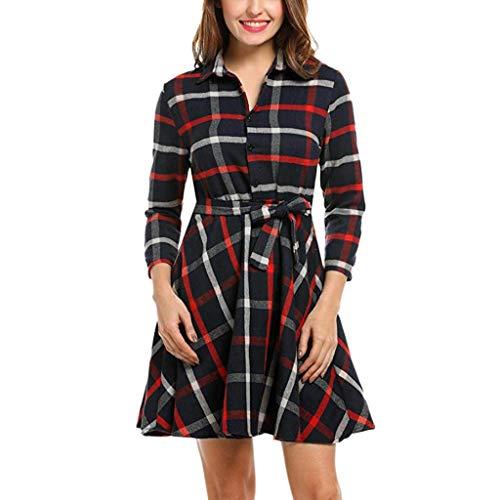 - Women's Casual A-line Dresses,AmyDong 3/4 Sleeve Lapel Plaid Belted Swing Mini Dress