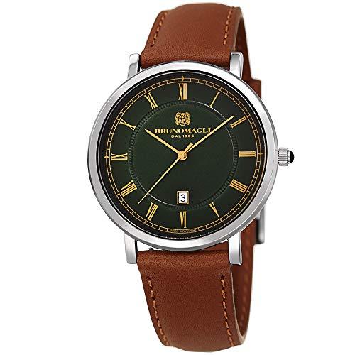 Bruno Magli Men's Milano 1201 Swiss Quartz Green Dial and Tan Italian Leather Strap Watch