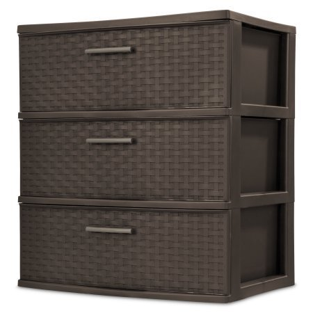 3-Drawer Wide Weave Tower, Espresso (Chester Furniture Discount)