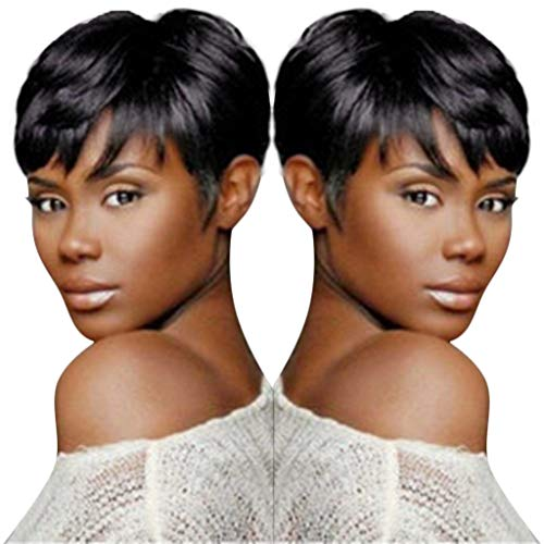 Black Human Hair pixie Cut Straight Short