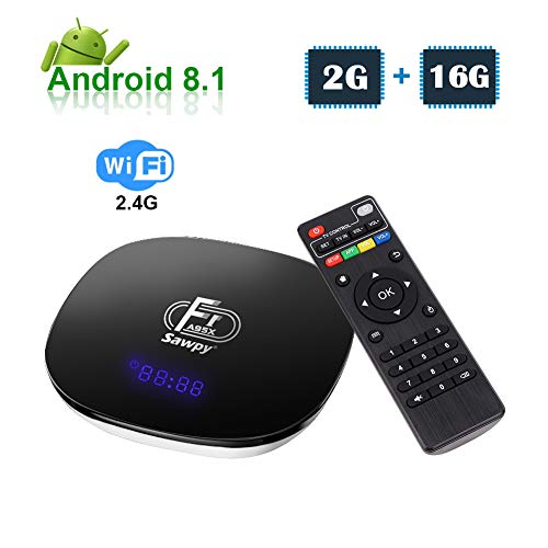 Sawpy A95XF1 Android TV Box 2GB RAM +16GB ROM Android 8.1 4K 2.4 GHz WiFi Smart TV Box 64bit Quad-core Cortex-A53 (Best Internet Streaming Device For Tv)