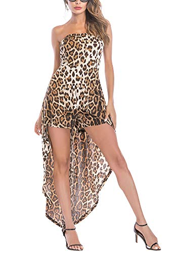(Romper Dress Leopard Off The Shoulder Sleeveless Split Maxi Romper Dress Party Club XL)