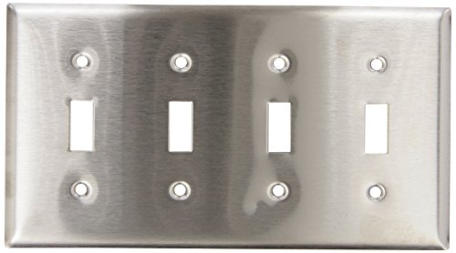 Hubbell Wiring Systems SS4 302/304 Stainless Steel 4-Toggle Switch Wall Plate, 4 Gang, 8-7/32 Width x 4-1/2 Height x 1/32 Thick (Switch Height Wall)