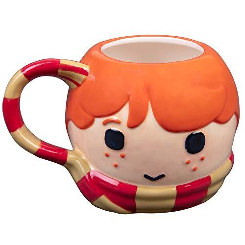 Figural Mug - Harry Potter Ron Figural Ceramic Coffee Mug - Cute Chibi Design with Gryffindor Scarf Handle - 24 oz