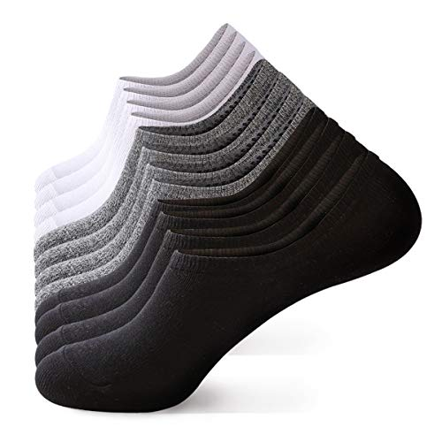 - No Show Socks Men No Show Socks Women Ankle Socks Comfy Low Cut Combed Cotton Socks for 6 Packs (2 Black 2White 2 Grey, Small/Medium)