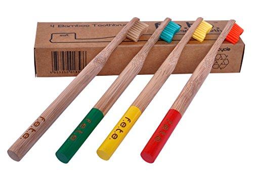Bamboo toothbrush Best Eco-Friendly biodegradable Bamboo Handles and BPA-Free biodegradible Nylon Bristles For Natural Dental Care (Family Pack, Soft Bristles, Multi-coloured) Vegan