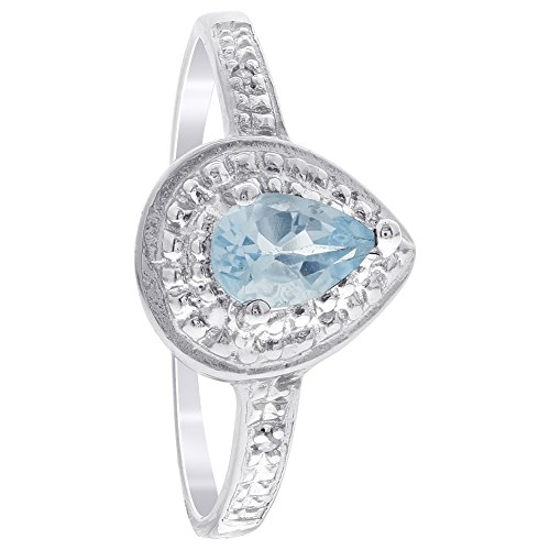 Gem Avenue 925 Sterling Silver Pear Shape Blue Topaz Gemstone & Clear Stones Solitaire with Accents Ring (Topaz Clear Gems)