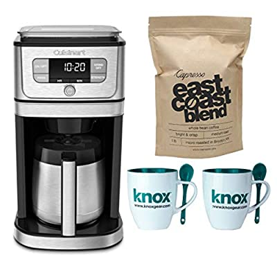 Cuisinart DGB-850 Burr Grind & Brew Thermal 10-CUP Coffeemaker Includes Set of 2 Mugs with Spoons and East Coast Blend Whole Bean Coffee