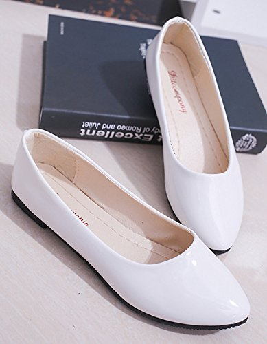 Easemax Plat Chic Ballerines Talon Bout Femme Blanc Pointu TR1TSw