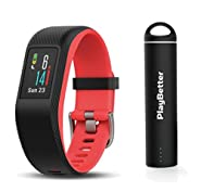 Garmin vivosport (Fuchsia, Small/Medium) Bundle with PlayBetter Portable Power Bank (2200mAh) | On-Wrist Heart Rate, 24/7 Activity Tracker, Color Display | GPS Fitness Band