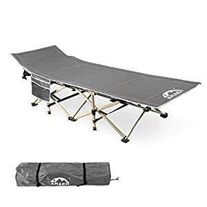 Camping Cot, Foldable 450LBS (Max Load) Outdoor Bed for Adults Double Layer 600D Fabric Upgraded Thicken Tubes Side Pocket Portable Sun Lounger with Cary Bag for Camping Supplies Gear Home