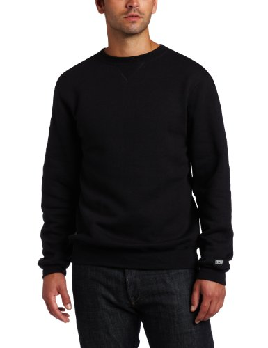 Soffe Men's Training Fleece Crew Sweatshirt, Black Large