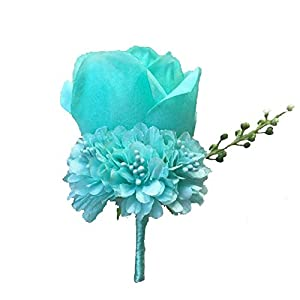 WeddingBobDIY Boutonniere Buttonholes Groom Groomsman Best Man Rose Wedding Flowers Accessories Prom Suit Decoration TFNi Blue 6