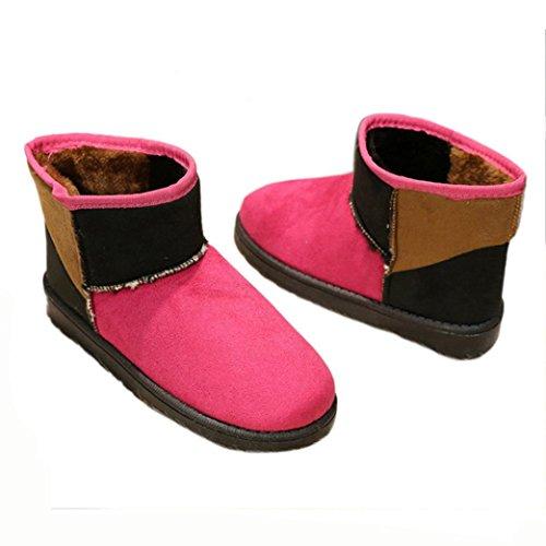 Amiley Kvinnor Blanda Färg Tofflor Stövlar Utomhus Mjuk Varm Vinter Snö Fotled Toffeln Hot Pink