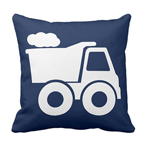 (Emvency Throw Pillow Cover Nursery Dump Truck in Navy Blue Construction Decorative Pillow Case Home Decor Square 16 x 16 Inch)
