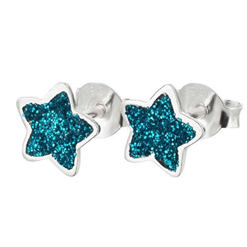 Pendientes SL de estrella, de plata 925, brillantes en caja de regalo