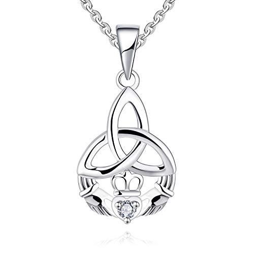 "JO WISDOM 925 Sterling Silver Cubic Zirconia Celtic Knot Claddagh Pendant Necklace,18+2"""