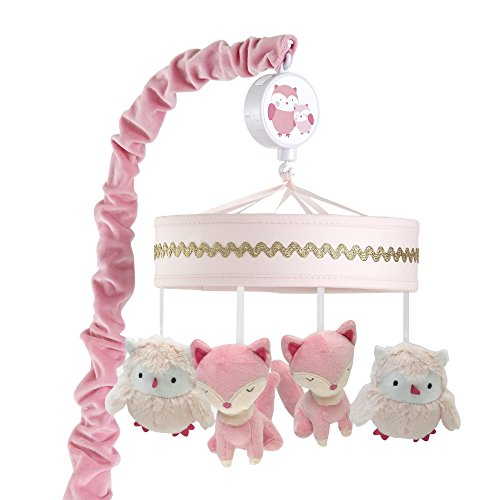 Happi by Dena Woodland Couture Owls Musical Mobile, Pink/Gold ()