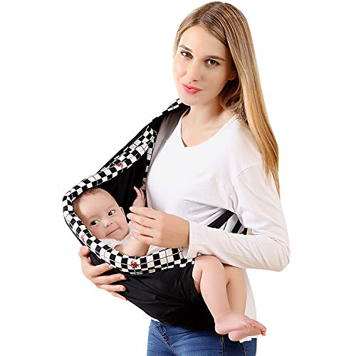 Soft Baby Carrier, Cotton Ring Baby Sling Carrier Baby Holder Extra Comfortable for Easy Wearing Carrying of Newborn, Infant Toddler and Ideal for Baby Registry, Nursing, ()