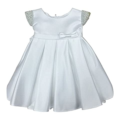 Petite Adele Baby Girls White Dull Satin Beaded Flower Girl Dress 18M - Length Beaded Satin