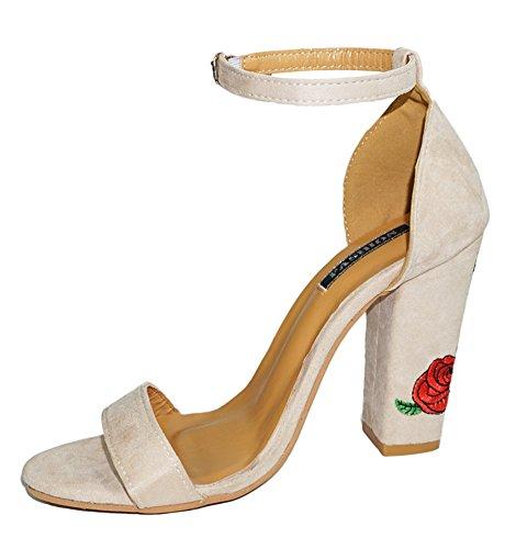 Minetom Mujer Verano Elegante Moda Rosa Bordado Tacón Sandals Tobillo Correa Hebilla Sandalias Zapatos de Tacón Alto Beige