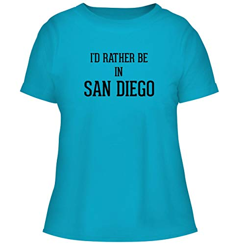 I'd Rather Be in SAN Diego - Cute Women's Graphic Tee, Aqua, Medium