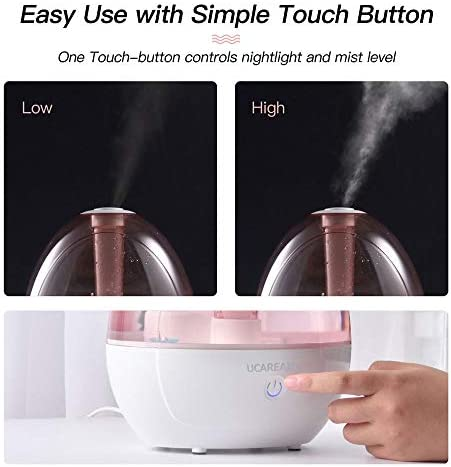 41P%2B2r876sL. AC - Cool Mist Humidifier – Humidifier For Baby Bedroom, Super Quiet Mist Humidifier With High Low Mist, Waterless Auto-off, Night Light, 2L Capacity, Filterless Humidifiers For Home Office, ETL Approved